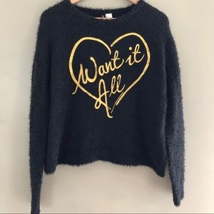 DIVIDED H&M Black Gold Like New Fuzzy Sweater